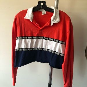 Colour block cropped long sleeve with collar